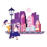 Vrouwen die met de gebouwen van de lampstad dansen royalty-vrije illustratie