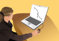 Vrouwen die met illustraties werken Stock Foto's