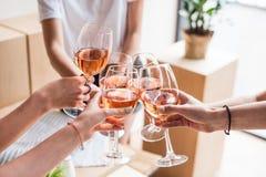 Vrouwen die met wijnglazen clinking Royalty-vrije Stock Fotografie