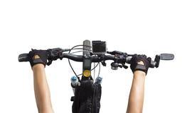 Vrouwen die op een fietsstuur berijden Stock Afbeelding