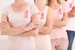 Vrouwen die tegen borstkanker worden verenigd royalty-vrije stock foto