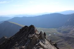 Vrouwen die Torreys-Piek beklimmen Front Range, Colorado Rocky Mountains royalty-vrije stock afbeelding