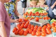 Vrouwen die verse tomaten voor aankoop wegen bij de markt stock foto