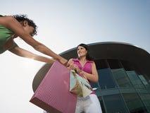 Vrouwen die voor het winkelen zak vechten stock foto's