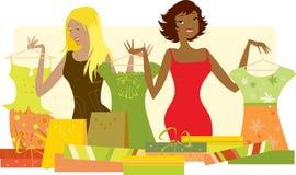 Vrouwen die voor nieuwe kleren winkelen stock illustratie