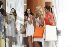 Vrouwen die in wandelgalerij winkelen Stock Afbeelding