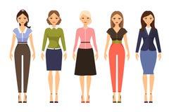 Vrouwen dresscode vectorillustratie Stock Afbeeldingen