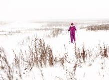 Vrouwen Dwarsland die in Sneeuwonweer ski?en Royalty-vrije Stock Foto