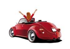 Vrouwen in een convertibel rood stock illustratie