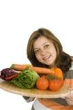 Vrouwen en gezond dieet. Stock Foto's