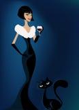 Vrouwen en kat vector illustratie