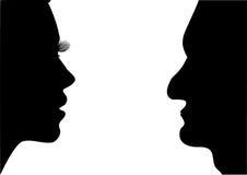 Vrouwen en mannen. stock illustratie