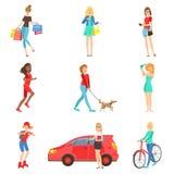 Vrouwen en Meisjes Verschillende Geplaatste Levensstijlactiviteiten Stock Afbeeldingen