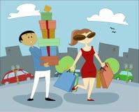 Vrouwen en Winkelende 1 Vector Illustratie