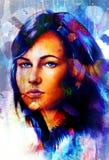 Vrouwen engelachtig gezicht en een vlinder Structuur en kleurencollageart. vector illustratie