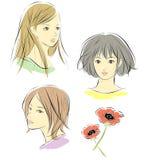 Vrouwen, gezichten vector illustratie