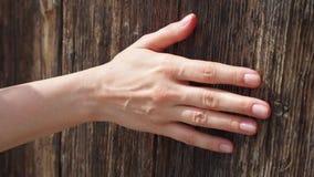 Vrouwen glijdende hand tegen oude houten deur in langzame motie De vrouwelijke ruwe oppervlakte van de handaanraking van hout