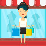 Vrouwen het Winkelen De achtergrond van de winkelwandelgalerij Vector vlak beeldverhaalkarakter Stock Foto's
