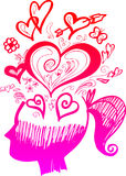 Vrouwen hoofdhoogtepunt van liefdegedachten Royalty-vrije Stock Afbeeldingen