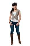 Vrouwen in jasje en jeans Stock Fotografie