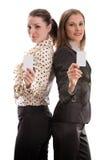 Vrouwen met adreskaartjes. Geïsoleerda op wit royalty-vrije stock afbeeldingen