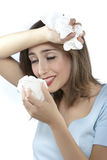 Vrouwen met allergieën Stock Fotografie