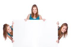 Vrouwen met banner royalty-vrije stock foto
