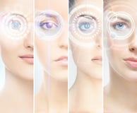 Vrouwen met digitale laserhologras op hun ogen Stock Foto's