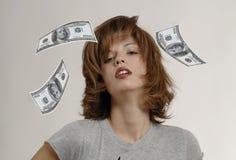 VROUWEN MET DOLLAR Stock Foto