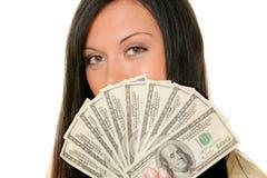 Vrouwen met dollarrekeningen stock foto's