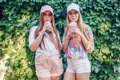 Vrouwen met dranken dichtbij struik royalty-vrije stock foto