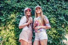 Vrouwen met dranken dichtbij struik stock afbeelding