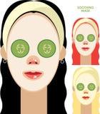 Vrouwen met gezichts kalmerend masker Stock Foto