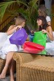Vrouwen met het winkelen zakken Royalty-vrije Stock Foto's