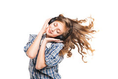 Vrouwen met hoofdtelefoons in dansende motie royalty-vrije stock foto