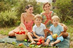 Vrouwen met jonge geitjes op een picknick Royalty-vrije Stock Afbeeldingen