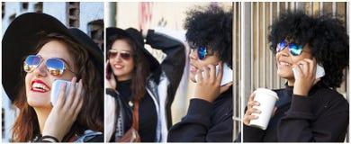 Vrouwen met Mobiele Telefoons royalty-vrije stock fotografie