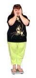 Vrouwen met overgewicht op schalen Stock Fotografie