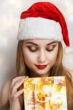 Vrouwen mooie santa Royalty-vrije Stock Afbeelding