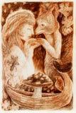 Vrouwen mystieke alliantie met een vos, fantasie stock illustratie