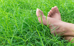 Vrouwen naakte voeten op groen gras Stock Afbeelding
