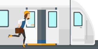 Vrouwen ontbrekende trein Stock Foto's