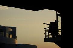 Vrouwen op balkon stock foto