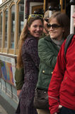 Vrouwen op een Kabelwagen royalty-vrije stock afbeelding
