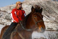 Vrouwen op horseback. royalty-vrije stock afbeelding