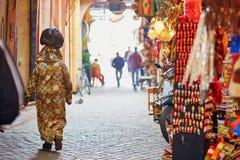 Vrouwen op Marokkaanse markt in Marrakech, Marokko Stock Foto