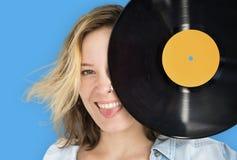 Vrouwen Retro Vinyldeejay Music Concept Stock Afbeeldingen