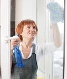 Vrouwen rijpe schoonmakende keuken Stock Afbeelding