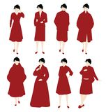 Vrouwen in Rood Stock Foto