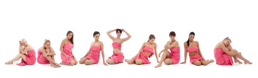 Vrouwen in roze - Borstkanker Awereness royalty-vrije stock afbeelding